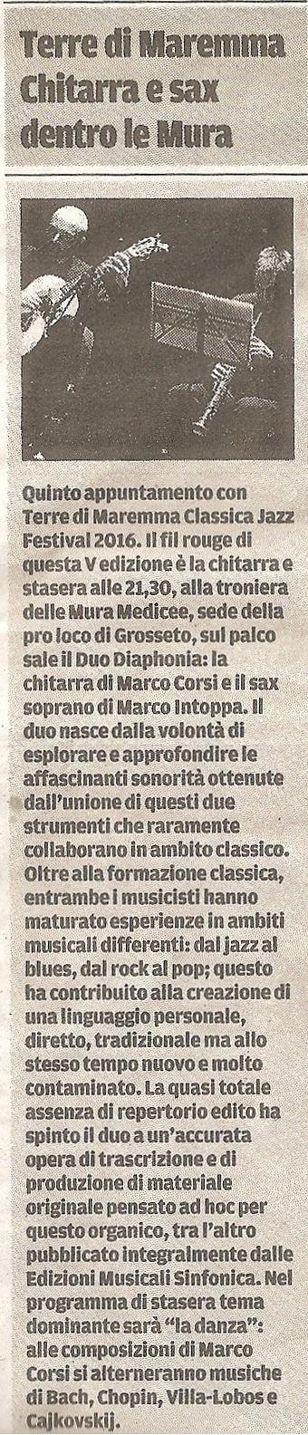 Il Tirreno giov.28 luglio 2016